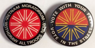 Two different Australian Vietnam Moratorium pinback buttons]. Vietnam Moratorium / Withdraw all...