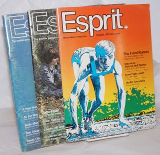 "Esprit: the positive perspective; three issue run containing ""The Front Runner"" by Warren. Mary..."