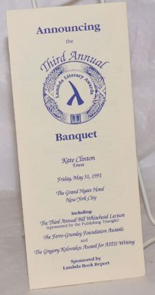 Announcing the Third Annual Lambda Literary Awards Banquet [brochure] Friday, May 31, 1991, The...