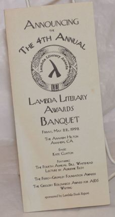 Announcing the Fourth Annual Lambda Literary Awards Banquet [brochure] Friday, May 22, 1992, The...