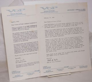 Voices of Pride Correspondence [two letters]. Rev. Ruth M. Frost