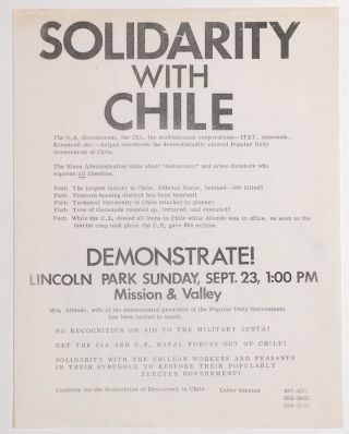 Solidarity with Chile... Demonstrate! Lincoln Park Sunday, Sept. 23, 1:00 PM [handbill
