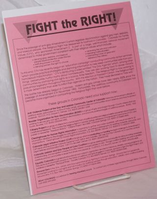 Fight the Right! [handbill] [against the anti-gay Amendment 2 in Colorado