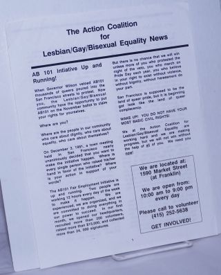The Action Coalition for Lesbian/Gay/Bisexual Equality News AB 101 Initiative Up & Running!