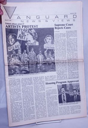 Vanguard News & Views: vol. 1, #1, March 9, 1990: Artists Protest. Sandy Dwyer, Charles Hooper...