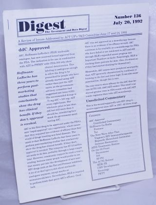 Digest: the treatment and data digest; #136 July 20, 1992; a review of issues addressed by ACT...