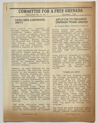 Committee for a Free Grenada. Newsletter. Vol. 2, No. 2 (September 1984