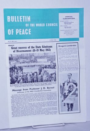 Bulletin of the World council of Peace 1963 May 31