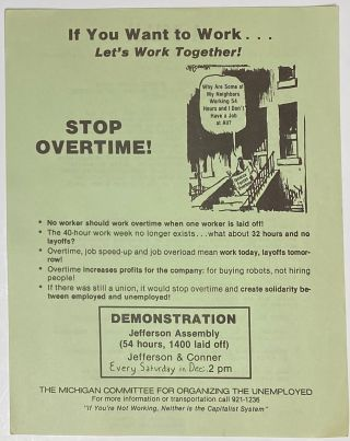 If you want to work... Let's work together! Stop overtime! [handbill