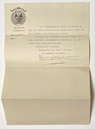 Gun permit from the government of Sonora issued on behalf of an American, Ira Cecil McReynolds