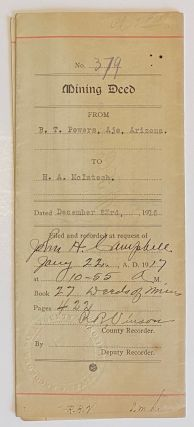 Mining Deed. From B.T. Powers, Ajo, Arizona. To H.A. McIntosh. Dated December 23rd, 1916