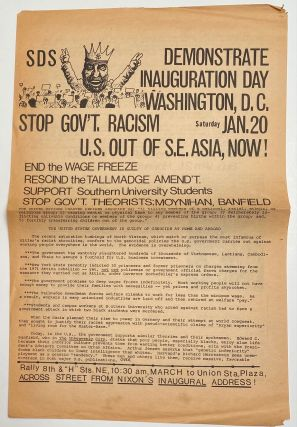 Demonstrate inauguration day. Washington, DC. Saturday, Jan. 20. Stop gov't racism. US out of SE...