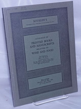 Catalogue of Printed Books and Manuscripts Relating to Wine and Food, The Property of Mrs. J.D....