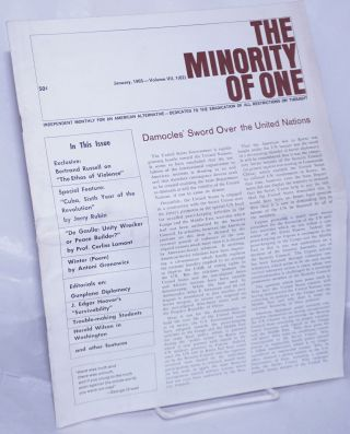 The minority of one; 1965, Jan, Vol. 7 No. 62 (whole number) independent monthly publication,...