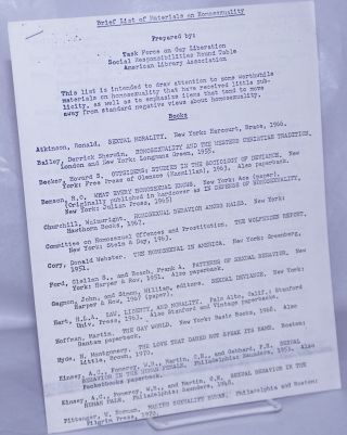 Brief List of Materials on Homosexuality. American Library Assoc Task Force on Gay Liberation...