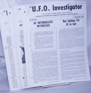 U.F.O. Investigator; Facts About Unidentified Flying Objects [broken run]: Volume II, Nos. 7, 9, 10, 11, 12; Volume III, Nos. 1 thru 11; Volume IV, Nos. 1 thru 3 [19 unduplicated issues], plus seven enclosures; 26 separate related items together as a small lot.