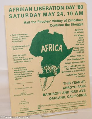 Afrikan liberation day '80; Saturday May 24, 10 A M, this year at: Arroyo Park, Bancroft and 73rd...