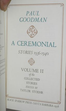 A ceremonial; stories 1936-1940. Edited by Taylor Stoehr