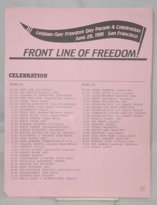 Front Line of Freedom! [handbill] Lesbian/Gay Freedom Day Parade & Celebration, June 28, 1981,...