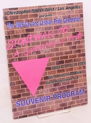 Stonewall 20: a generation of pride, June 24 & 25, 1989, West Hollywood Park, West Hollywood,...