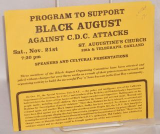 Program to support Black August against C.D.C. attacks; Sat., Nov. 21st, 7:30 pm, St. Augustine's...