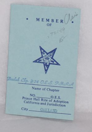 Membership card/dues book. Prince Hall Rite of Adoption. California, Jurisdiction. Beulah Chapter.