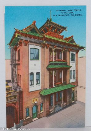 Kong Chow Temple, Chinatown, San Francisco, California. Postcard