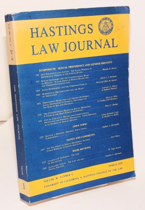 Hastings Law Journal: volume 30, number 4, March 1979; Sympsoium: sexual preference and gender identity
