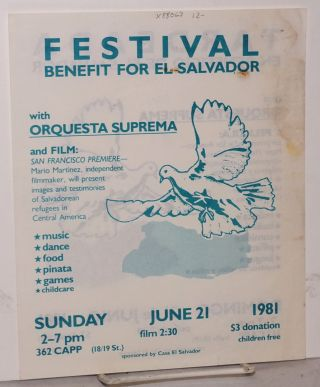 Festival/Tardeada: benefit for El Salvador ... Sunday June 21 1981 ... 362 Capp [leaflet