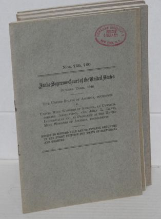 In the Supreme Court of the United States. October Term, 1946. United States of America, Petitioner v. United Mine Workers of America, an unincorporated association, and John L. Lewis, individually, and as President of the United Mine Workers of America, an unincorporated association, respondents. Transcript of Record