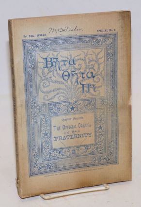 Beta theta pi,; chapter annuals; the official organ of the fraternity vol. xix 1891-92, special...