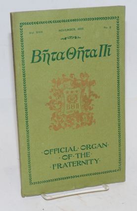 Beta theta pi, official organ of the fraternity vol. xxiii, November 1895, no. 2 [cover titling]...