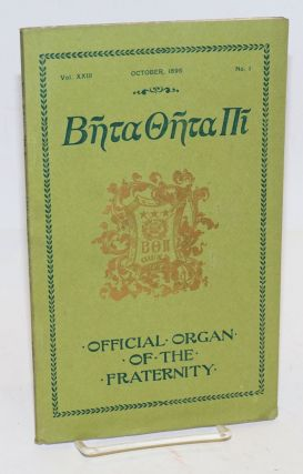 Beta theta pi, official organ of the fraternity vol. xxiii, October 1895, no. 1 [cover titling]...